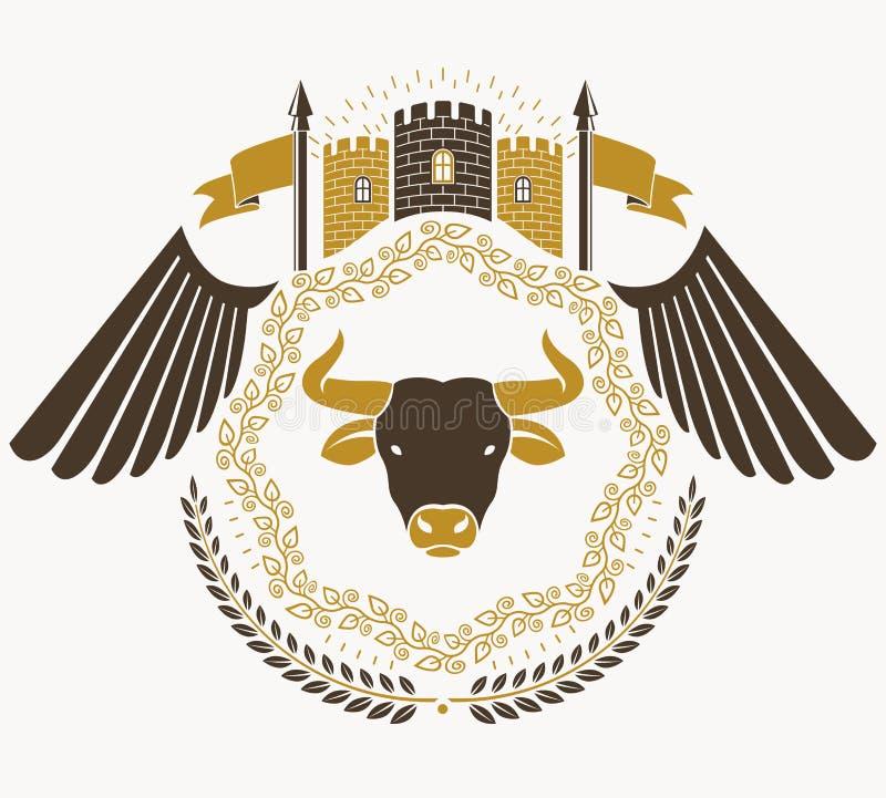 Heraldyczny znak, element, heraldyka emblemat, insygnia, znak, wektor royalty ilustracja