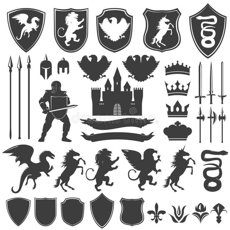 Heraldyk Dekoracyjne Graficzne ikony Ustawiać royalty ilustracja