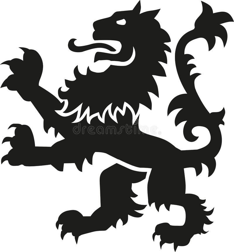 Heraldyki broni lew z szczegółami royalty ilustracja
