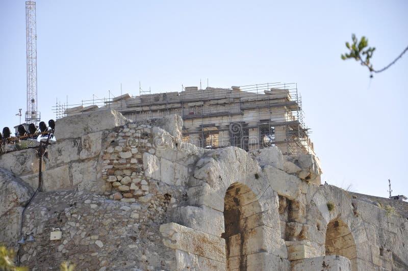 Herança arqueológico da acrópole de Atenas em Grécia imagem de stock royalty free