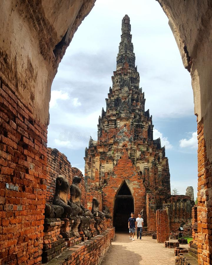 Herança de Ayutthaya, capital ancian de Tailândia foto de stock