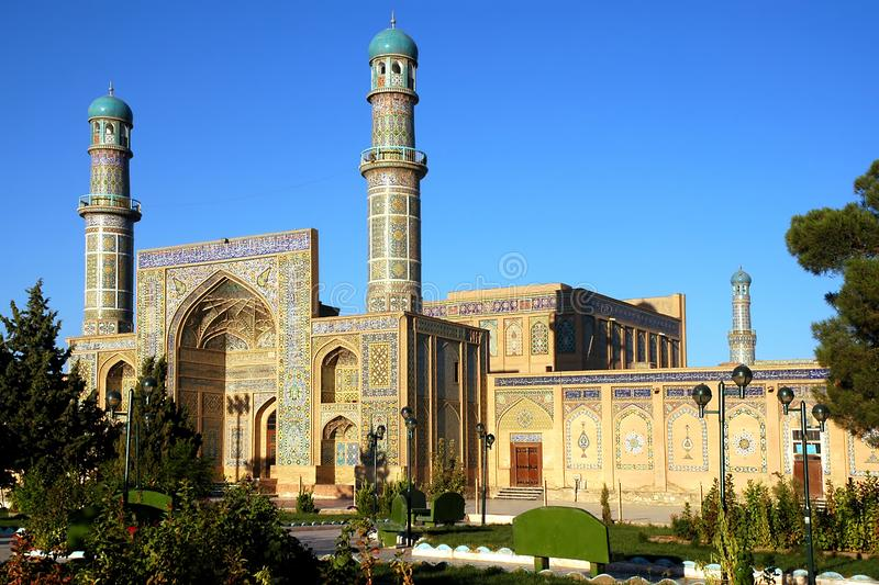 The Great Mosque of Herat in Afghanistan with garden. Herat in western Afghanistan. The Great Mosque of Herat Friday Mosque or Jama Masjid. The mosque is stock photos