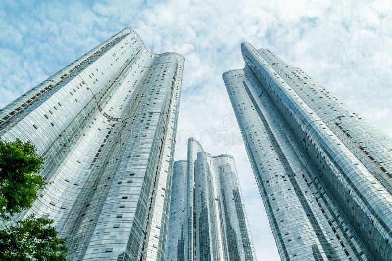 Herauf Ansicht über Wolkenkratzer in Busan, Zenitquadrat, Haeundae, Südkorea stockfotos