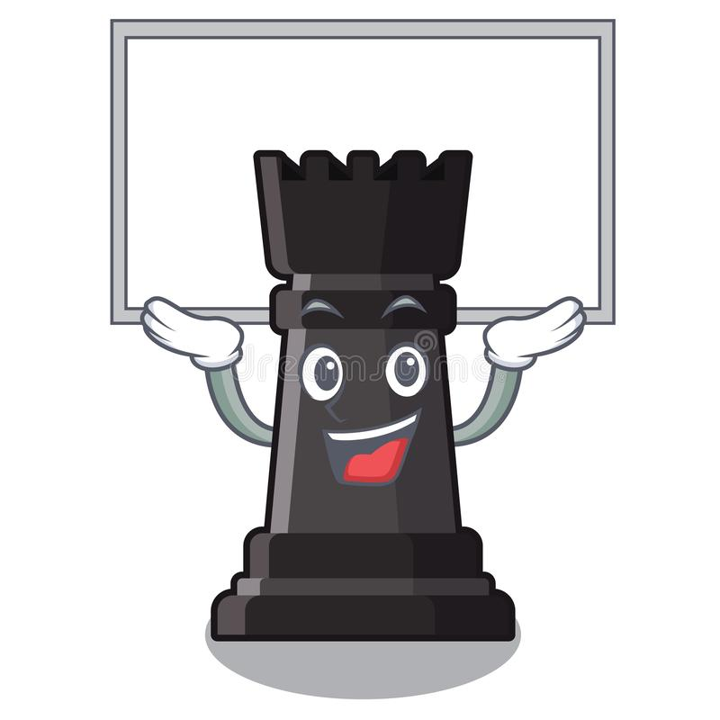 Herauf Brettturmschachspielwaren über Karikaturtabelle stock abbildung
