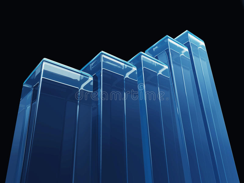 Herauf Tendenz-Balkendiagramm-Blau lizenzfreies stockfoto