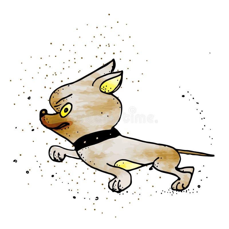 Herauf verärgerten Brown-Schoßhund sich empören, Tiergefühl-Karikatur-Illustration lizenzfreie abbildung
