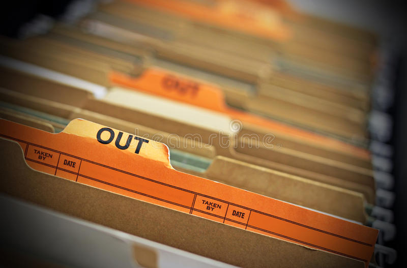 Heraus Datei lizenzfreie stockfotografie