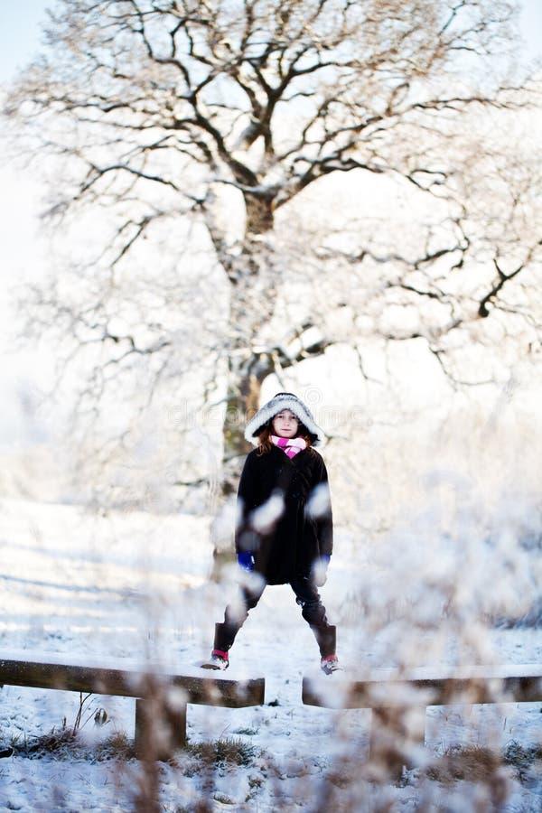 Heraus im Schnee lizenzfreie stockfotos