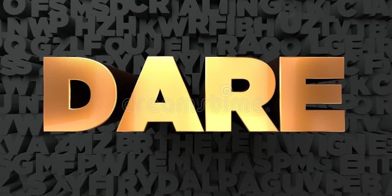 Herausforderung - Goldtext auf schwarzem Hintergrund - 3D übertrug freies Bild der Abgabe auf Lager lizenzfreie abbildung