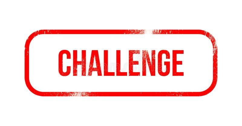 Herausforderung - roter Schmutzgummi, Stempel stock abbildung