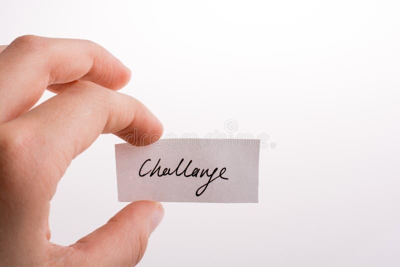 Herausforderung schriftliches Papier stockfotos