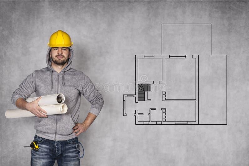 Herausforderung vor Bauarbeiter stockfotos