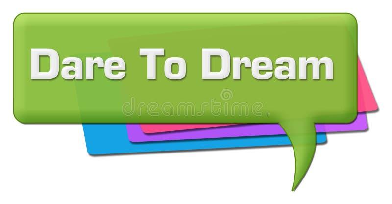 Herausforderung, zum des grünen bunten Kommentar-Symbols zu träumen lizenzfreie abbildung