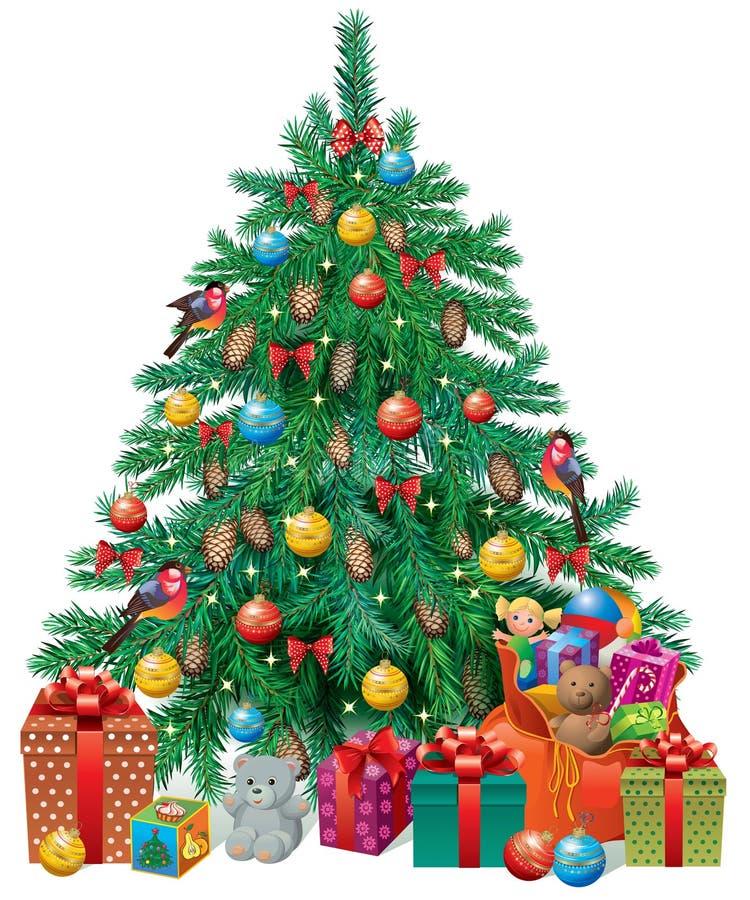 Herausgeputzter Weihnachtsbaum stock abbildung