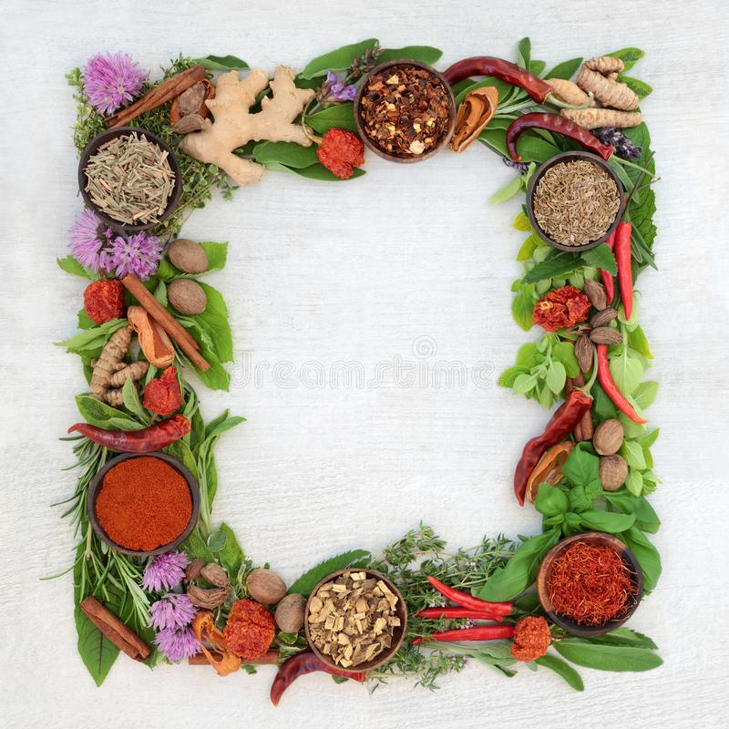Free Herb And Spice Wreath Stock Photos - 129301523
