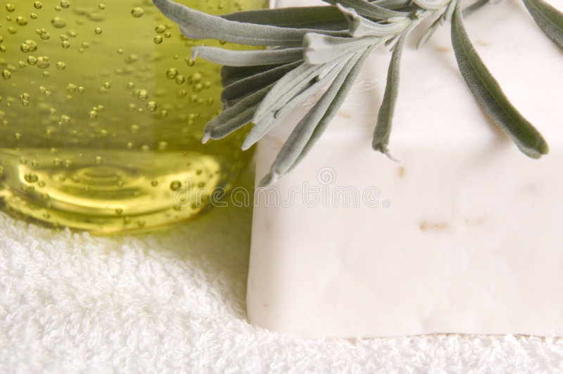 Herb bath items stock images