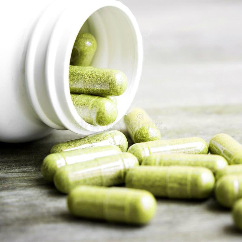 Herb capsule stock photo