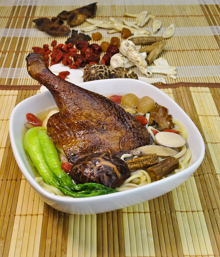 Herb duck soup noodle. food asian royalty free stock photo