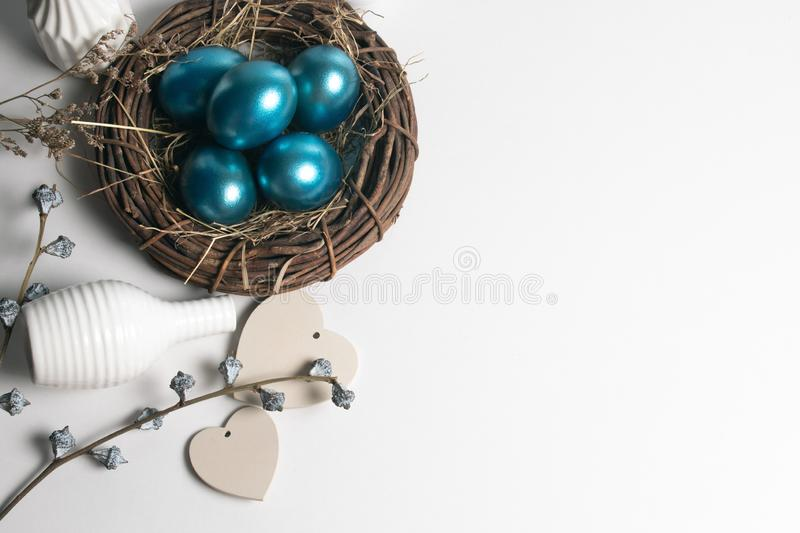 Wood vine vintage and herb leaf flower with decoration top view blue easter eggs stock images