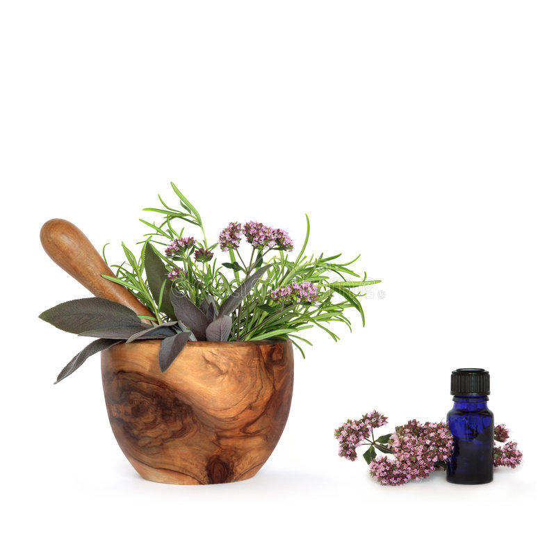 Herb Leaf Selection. Rosemary, sage and marjoram herb leaf sprigs and flowers with an olive wood mortar with pestle and aromatherapy blue glass essential oil royalty free stock photos