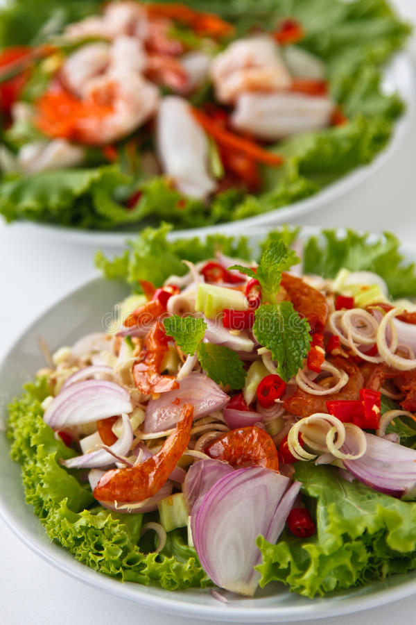 Herb salad ( Thai food) stock photos