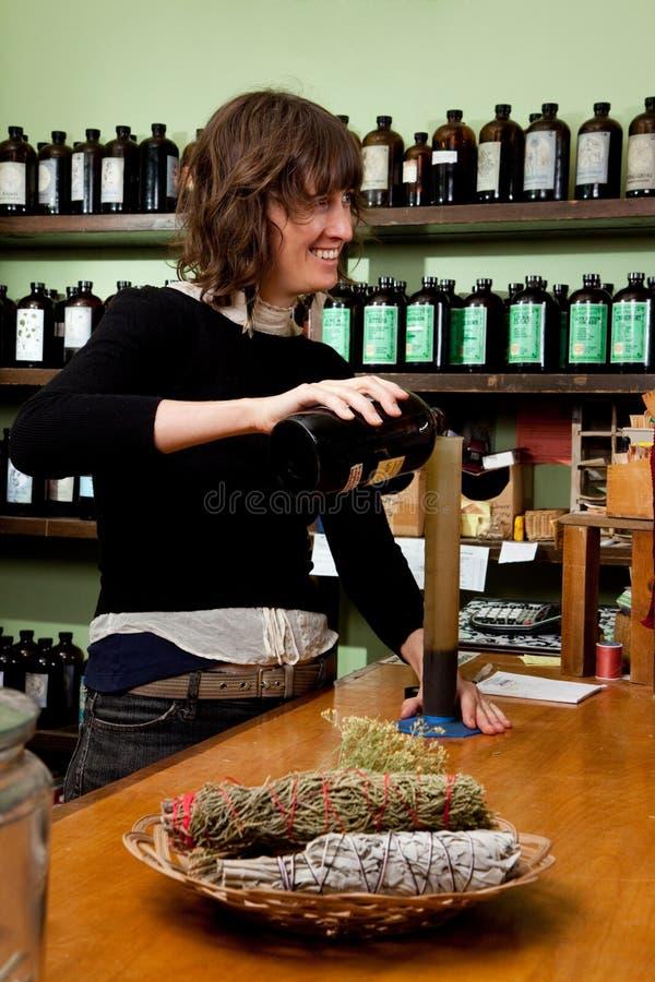 Herb Store Proprietor Smiling Stock Image