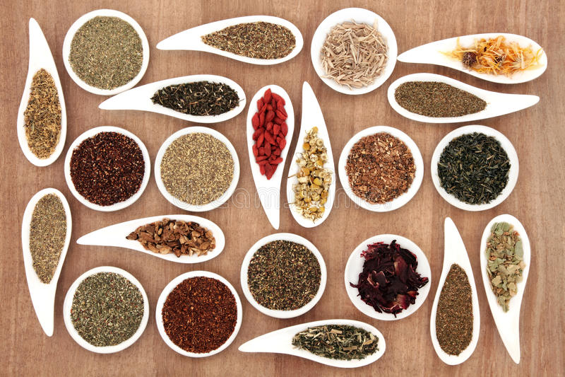 Herb Tea Sampler stock foto's