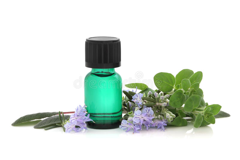 Herb Therapy. Herb leaf sprigs of sage, oregano and rosemary leaf and flower sprigs with green aromatherapy essential oil glass bottle, isolated over white stock photography