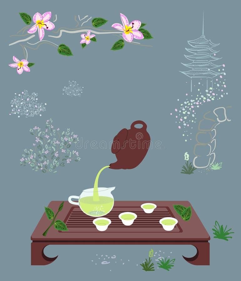 Herbaciana ceremonia na Chińskim lub Japońskim Zen ogródu tle zdjęcia stock