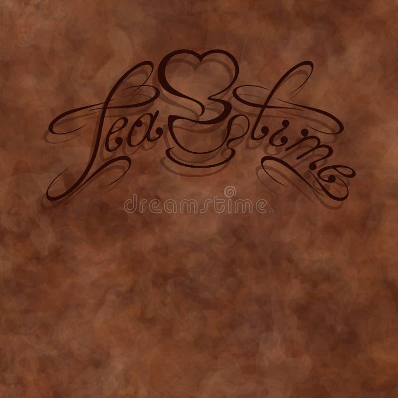 Herbaciana czas inskrypcja na brązu abstrakcie dostrzegał tło royalty ilustracja