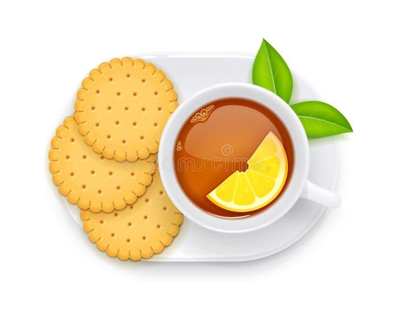Herbaciana filiżanka i ciastko na talerzu Tradycyjny gorący napój również zwrócić corel ilustracji wektora royalty ilustracja