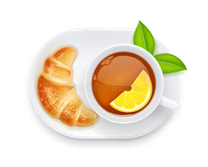 Herbaciana filiżanka i croissant na talerzu Tradycyjny gorący napój również zwrócić corel ilustracji wektora royalty ilustracja