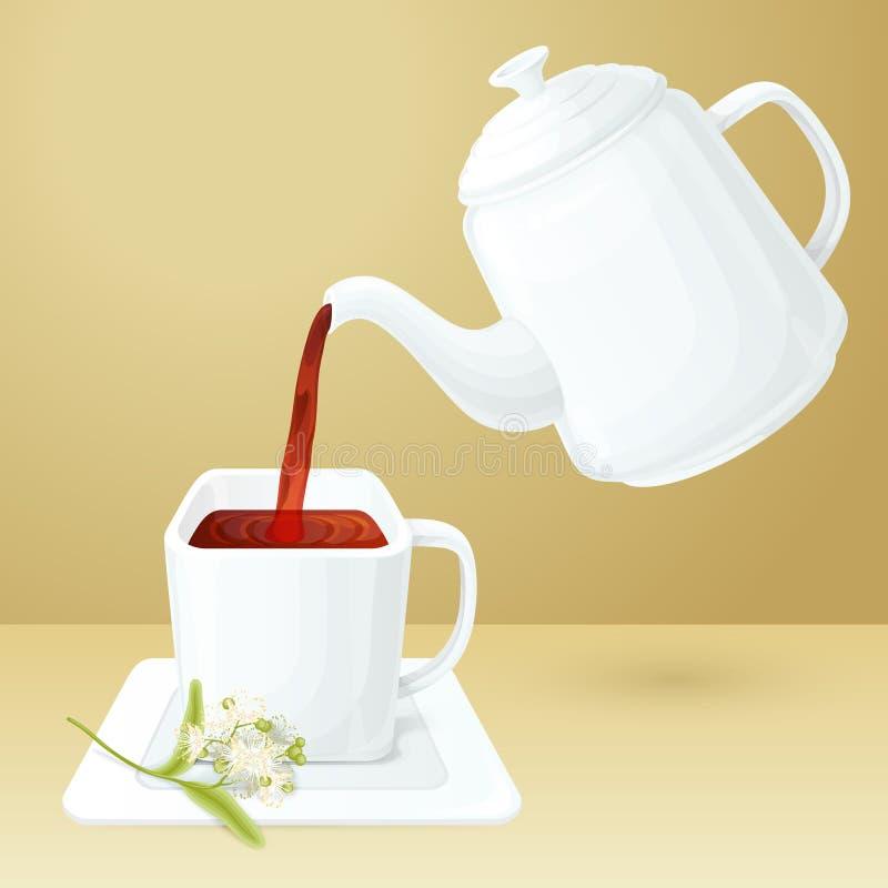 Herbaciana filiżanka i garnek ilustracja wektor