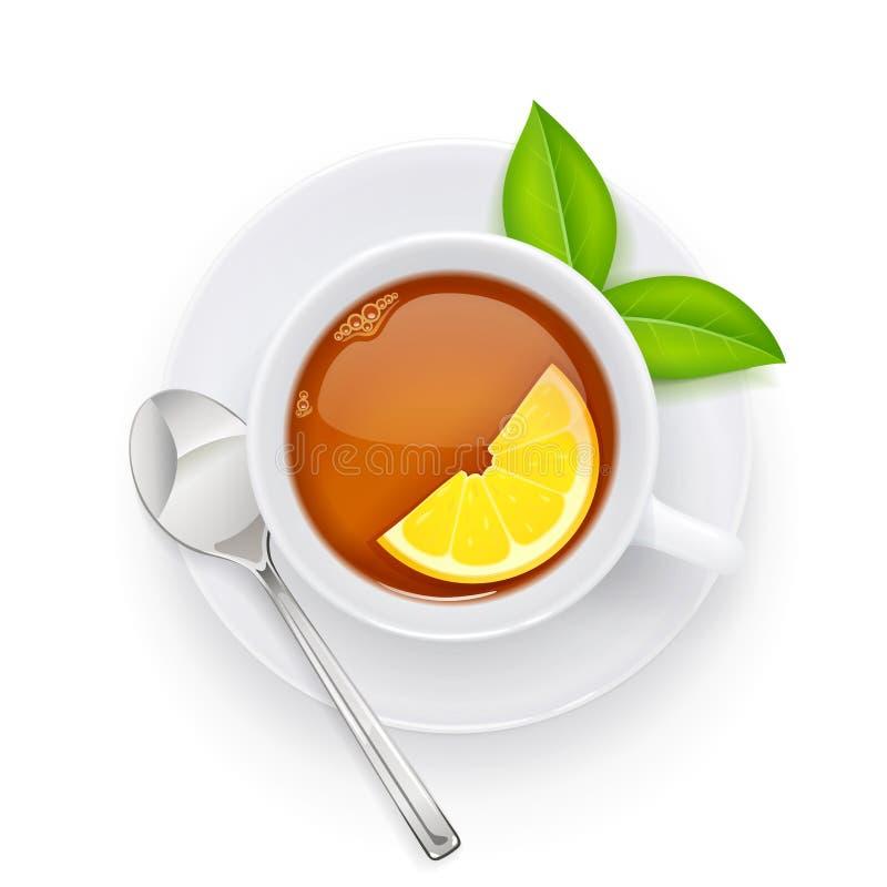 Herbaciana filiżanka i zieleń liść na talerzu Tradycyjny gorący napój również zwrócić corel ilustracji wektora royalty ilustracja