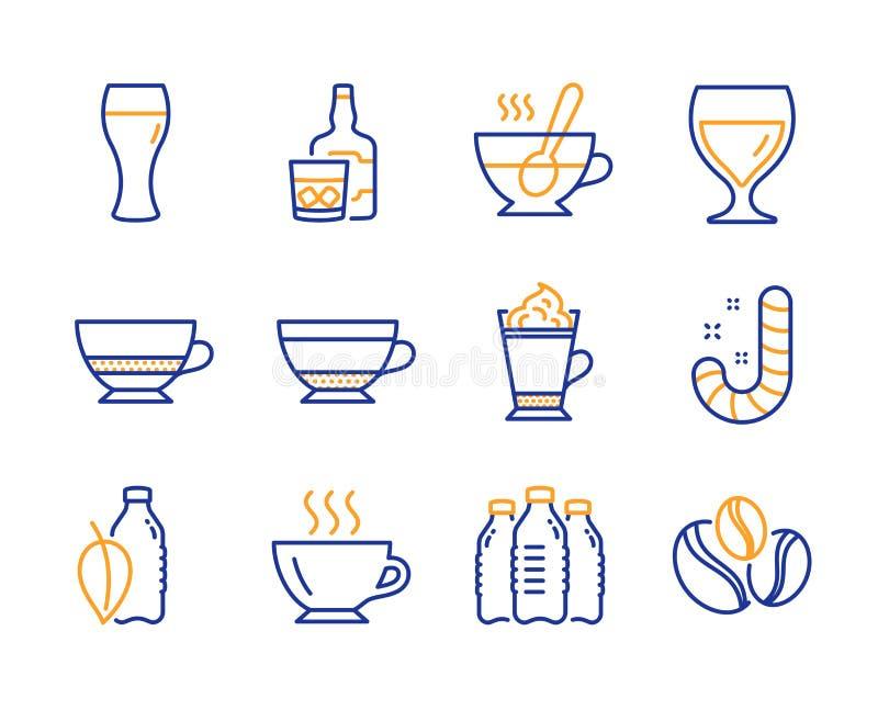 Herbaciana filiżanka, kawowe ikony ustawiać, bidonów i Latte Bombon kawa, znaki, cukierku i bidonu wektor ilustracja wektor