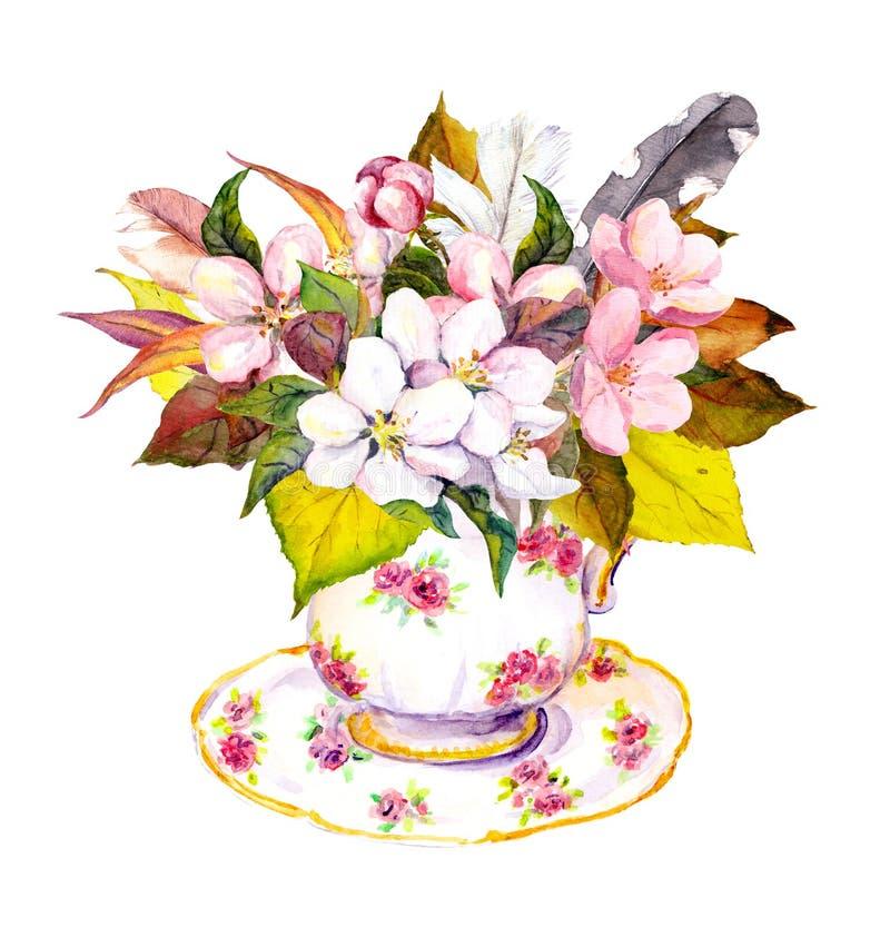 Herbaciana filiżanka z jesień liśćmi, wiśnia kwiatami i roczników piórkami, ilustracja wektor