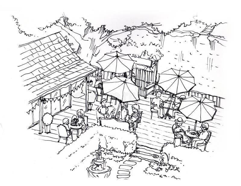 Herbaciana kawiarnia, sklep z kawą w ogrodowej ilustraci royalty ilustracja
