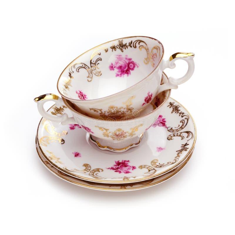 herbaciane antykwarskie filiżanki fotografia royalty free