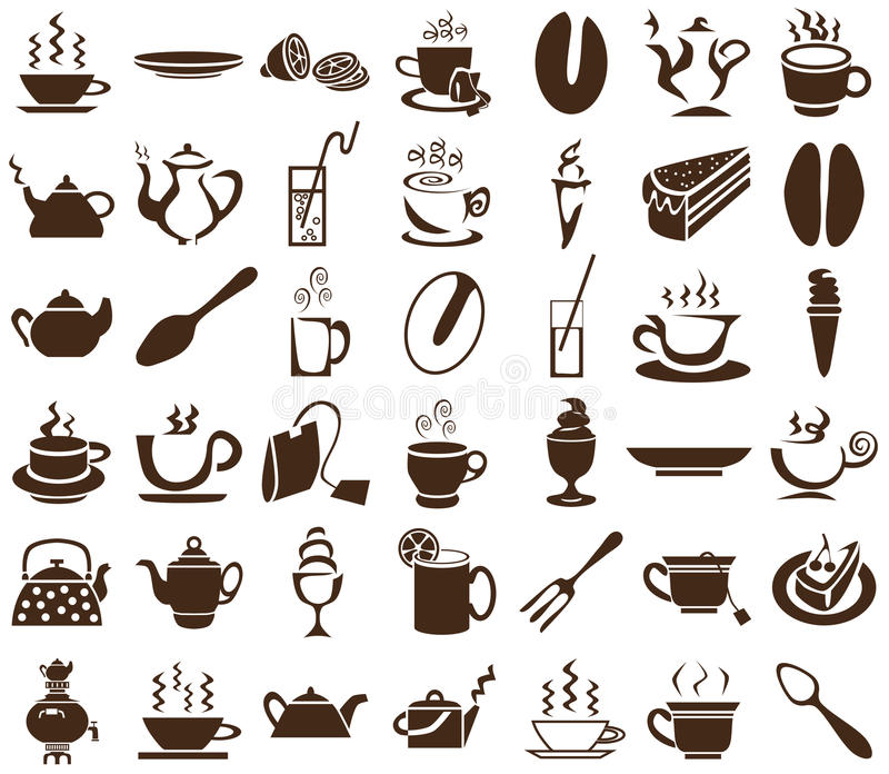 Herbaciane i kawowe ikony na bielu royalty ilustracja