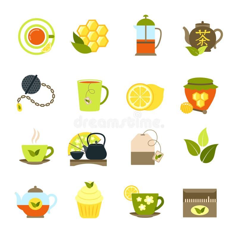 Herbaciane ikony ustawiać ilustracji