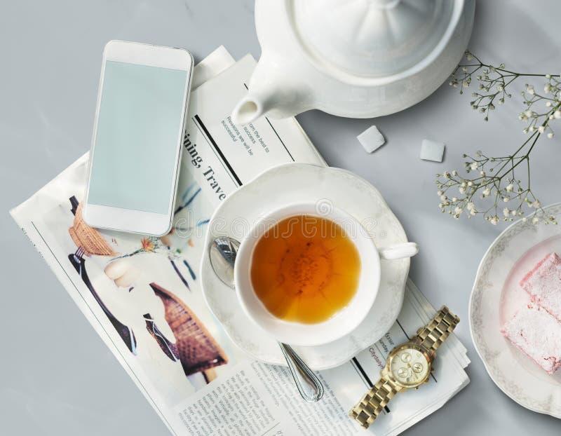 Herbacianego Gazetowego zegarka Realx Ewidencyjny Prosty pojęcie ilustracja wektor