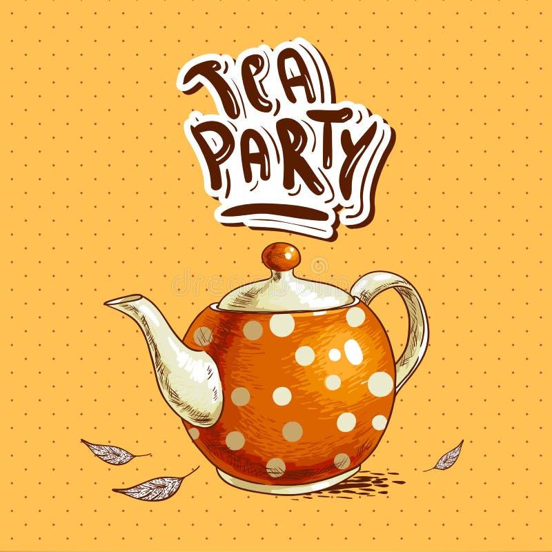 Herbacianego przyjęcia zaproszenia karta z garnkiem i filiżankami ilustracja wektor