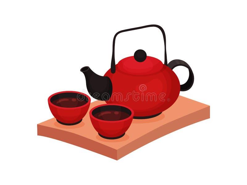 Herbacianej ceremonii chi?czyka tradycja Wektorowa p?aska ilustracja royalty ilustracja