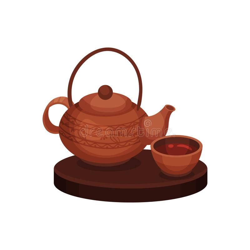 Herbacianej ceremonii chi?czyka tradycja Wektorowa p?aska ilustracja ilustracji
