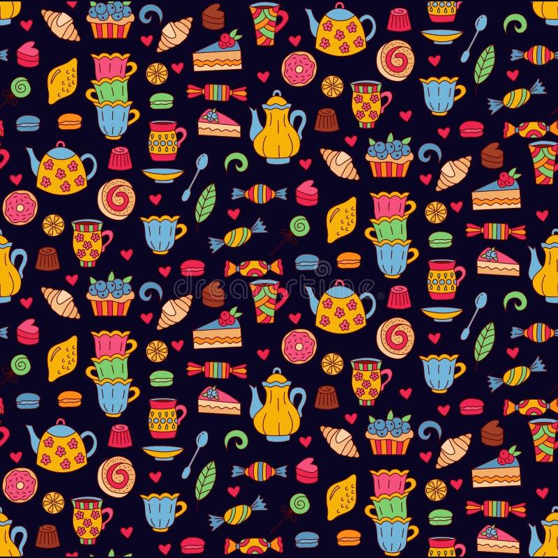 Herbacianej cukierki piekarni wektoru bezszwowy wzór royalty ilustracja