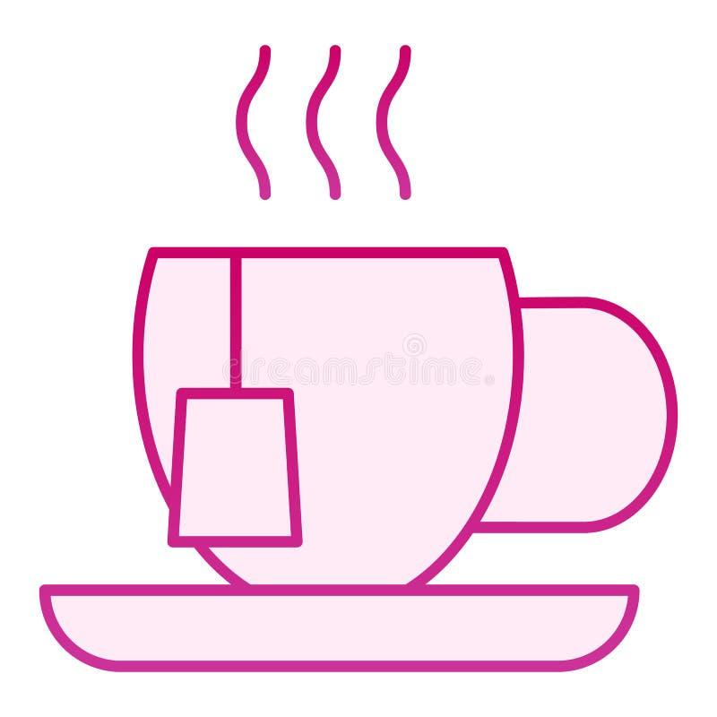 Herbacianej filiżanki mieszkania ikona Kubek z herbacianej torby menchii ikonami w modnym mieszkanie stylu Gorący napoju gradient ilustracja wektor