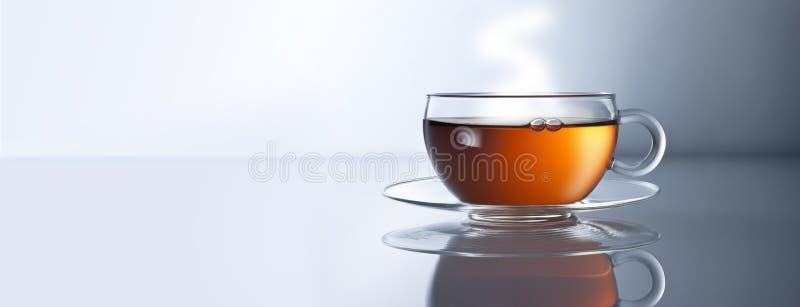 Herbacianej filiżanki sztandaru tło obrazy royalty free