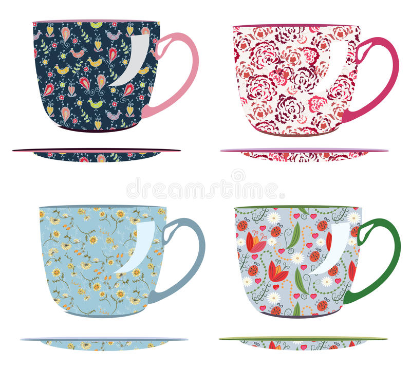 herbaciani filiżanka wzory ilustracji
