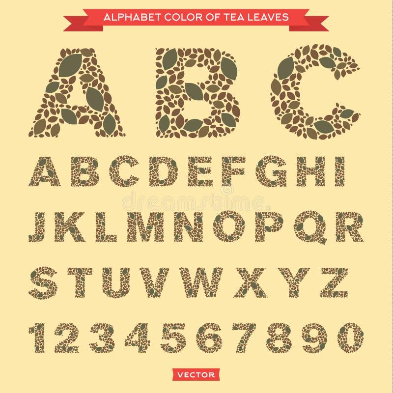 Herbaciani liście w postaci listów i liczb ilustracja wektor