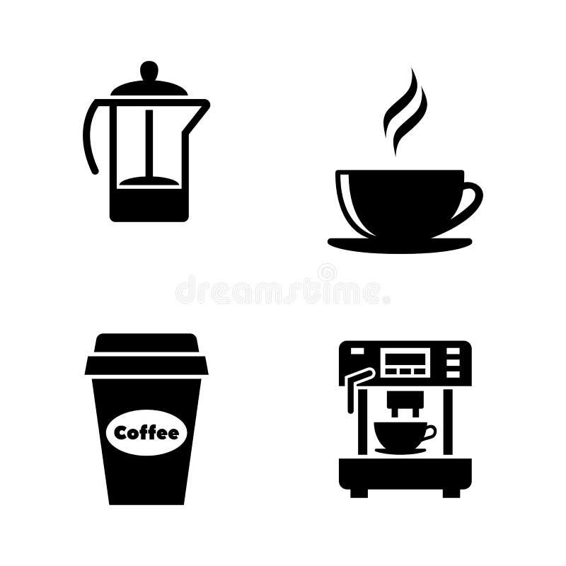 herbaciani projektów kawowi elementy Proste Powiązane Wektorowe ikony ilustracja wektor